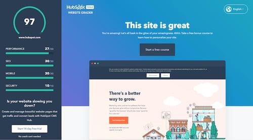 HubSpot website grader 2021-1