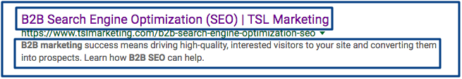 B2B SEO search engine result