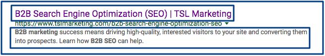 B2B SEO search engine result