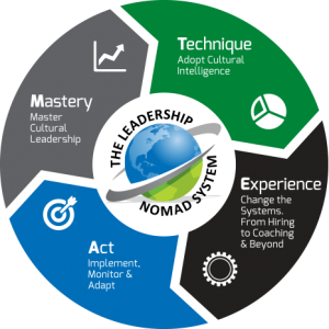 circular graphic of the four part T.E.A.M. model - technique, mastery, act, experience