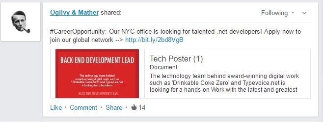 snapshot of linkedin post from ogilvy where the image text is rendered too small to read