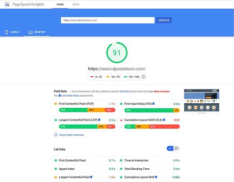 Screenshot of Google PageSpeed Insights free test