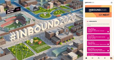 Screenshot of the virtual avatar environment of Inbound 2020