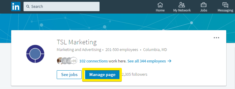 where to click to manage your linkedin company page