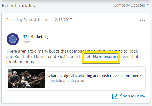 pointing out that you can now mention users and companies on LinkedIn company pages