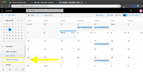 new outlook - discover calendar