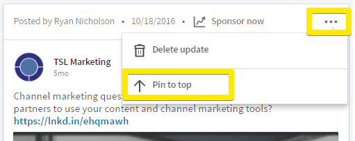 how to pin the most important updates to the top of your company page