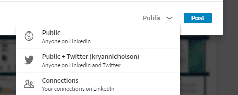 sharing options from your linkedin feed